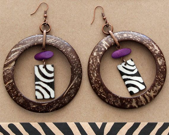 African Earrings  Ethnic Tribal Earrings  Wood by africaohafrica