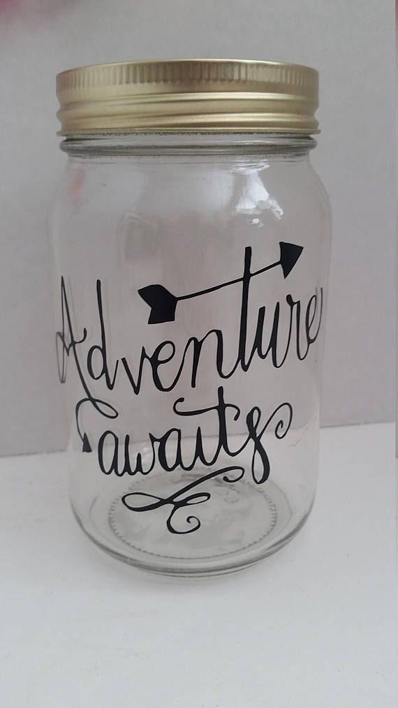 Adventure Awaits Travel Fund Jar With Coin Lid Wedding Etsy Money Jars Mason Jars Wedding Gift Money