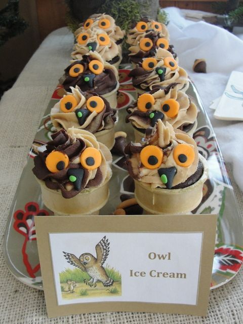 Owl ice cream! These look really yummy! Think you could make these for your little one's Gruffalo party?