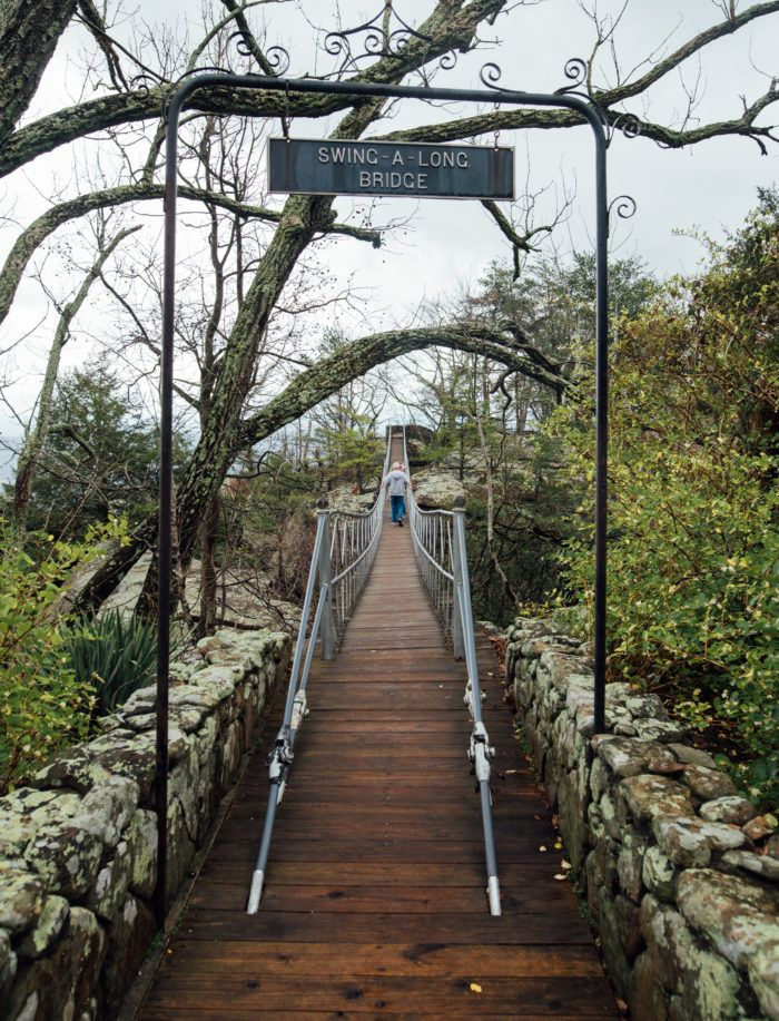 4. Bravely walk the 270-foot Swinging Bridge Trail over the Toccoa River.
