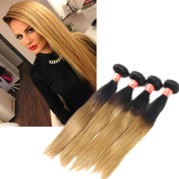 6A Brazilian Real Human Hair Extension 50g/Bundle Straight Ombre Hair Remy Wefts #WIGISS #HairExtension