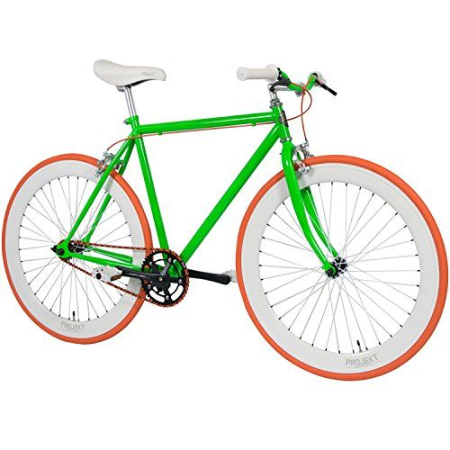 Projekt Electric Green Fixie Bike 700c Single-Speed track bicycle with flip-flop hub http://coolbike.us/product/projekt-electric-green-fixie-bike-700c-single-speed-track-bicycle-with-flip-flop-hub/