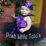 Halloween Daisy Dress-Up Purple & Black Little Girls Crochet Tutu Dress - 3141