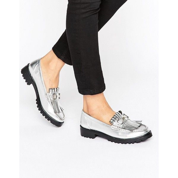 London Rebel Snaffle Trim Chunky Loafers ($47) ❤ liked on Polyvore featuring shoes, loafers, silver, slip on shoes, loafer shoes, metallic slip on shoes, london rebel and fringe loafers
