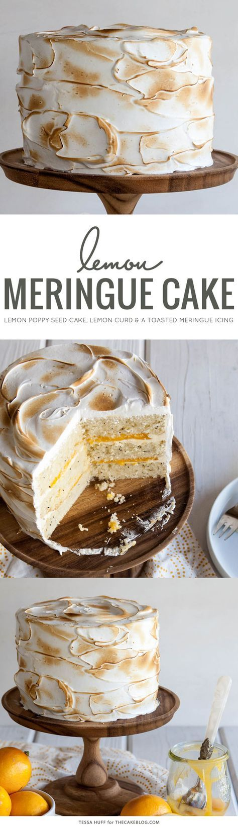 Lemon Meringue Cake - Bright, fresh and perfect for summer! Lemon poppy seed cake with lemon curd and toasted meringue frosting.