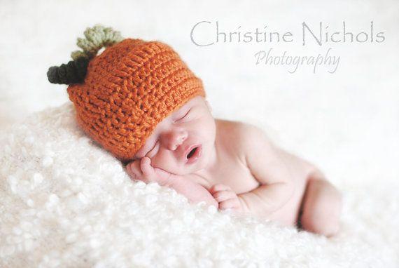 Pumpkin Baby Hat  Crochet Beanie in Orange Brown Green by inamood, $15.00