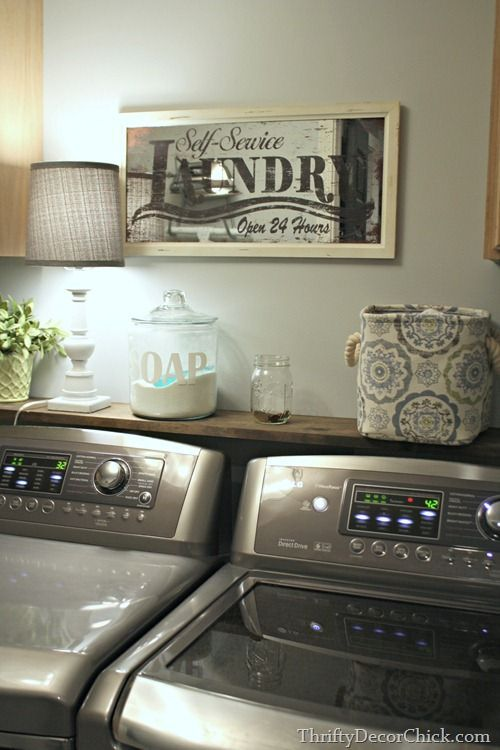 """could I fit a thin """"table"""" behind my washer and dryer for soap etc? thrifty decor chick"""