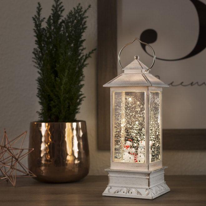 Weihnachtsbeleuchtung Mit Timer.Led Schneelaterne Schneemänner Warmweiß 5h Timer