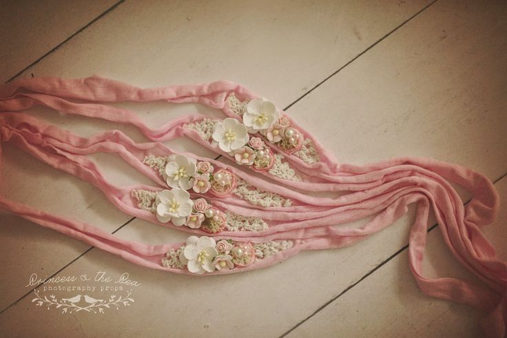 Pink jersey tie, vintage ivory lace, moss, mulberry flowers, newborn tieback, newborn photography prop, newborn headband