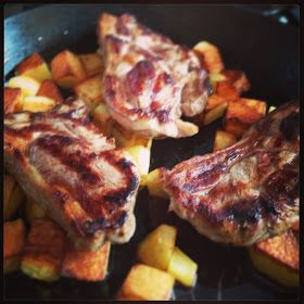 Lamb Chump Chops with 'Feta in the Oven' - Tea in a hurry! #lambchops #roastpotatoes