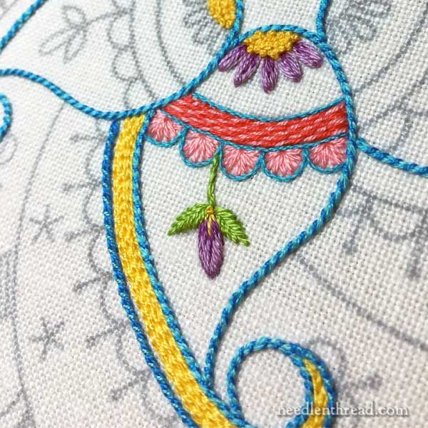 Choosing colors and stitches on embroidery project