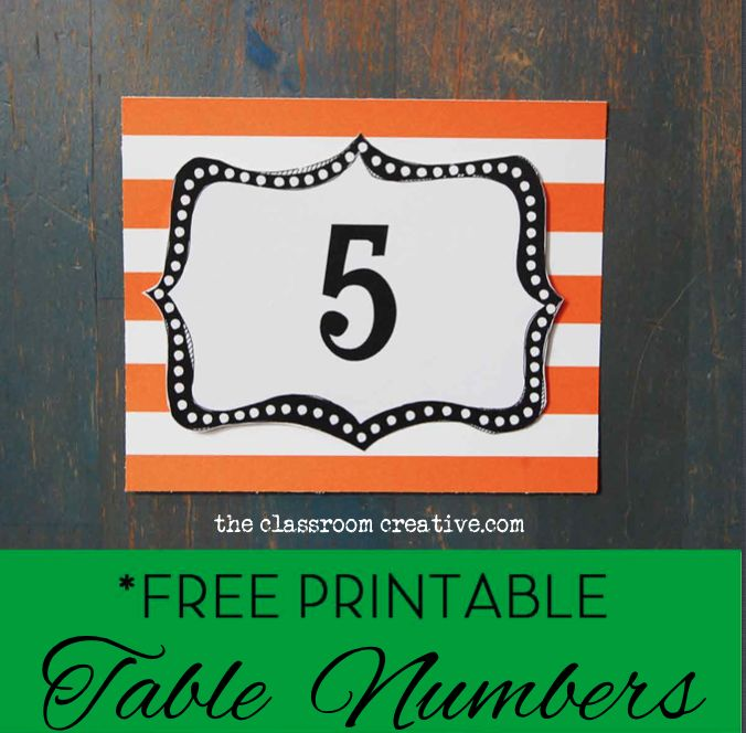 Classroom Organization Ideas Elementary ~ Free printable classroom table numbers