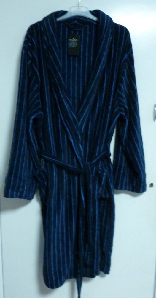 a7249b981e savile row NAVY BLUE STRIPE FLEECE DRESSING GOWN SIZE XXL RRP 50 CR180 CC  04  fashion  clothing  shoes  accessories  mensclothing…