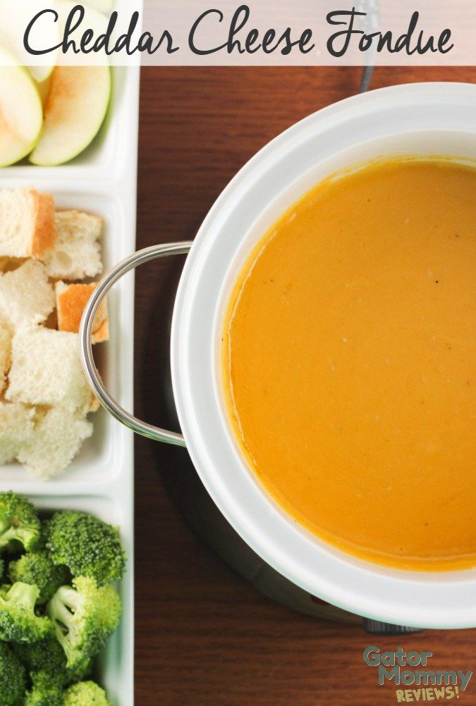Have a fondue night with Cheddar Cheese Fondue. This easy non-alcoholic cheese fondue is also great as an appetizer or for holiday entertaining. #NaturallyCheesy #ad #CollectiveBias - Cheddar Cheese Fondue Recipe on Gator Mommy Reviews