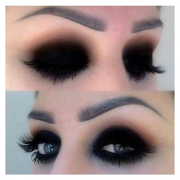 Black eyeshadow makeup | Hair and makeup | Pinterest ❤ liked on Polyvore featuring beauty products, makeup, eye makeup, eyeshadow, eye shadow and eyes