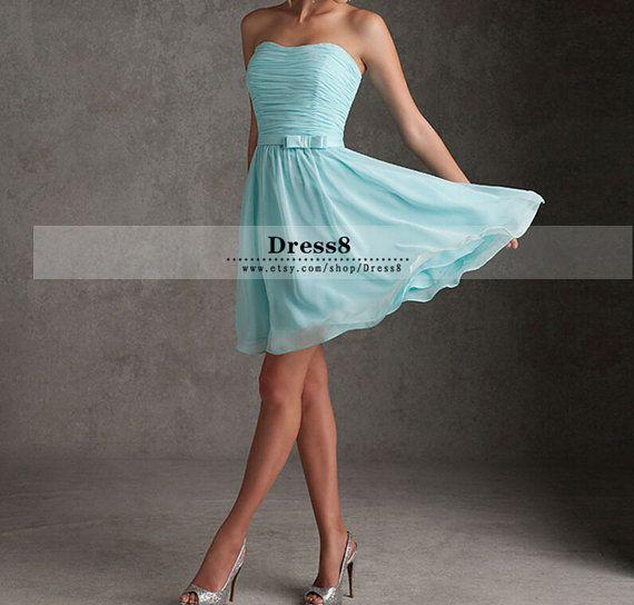 Cheap Tiffany Blue Bridesmaid Dress chiffon bridesmaid dresses Short Dress Sweetheart Chiffon A-line Chiffon Prom Dresses Stock US Size