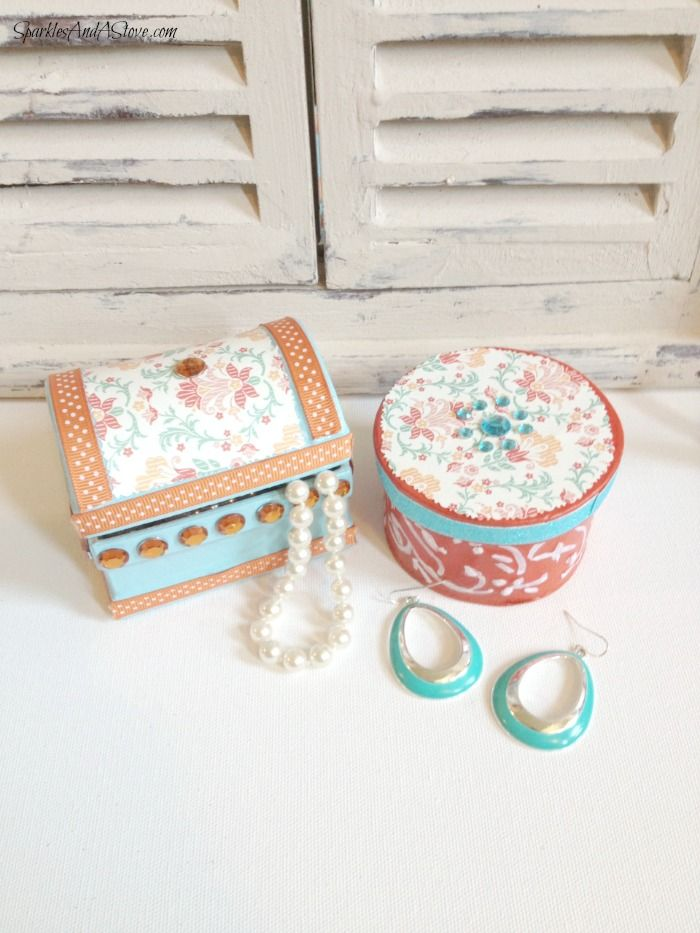 DIY Trinket Box paper mache trinket boxes with scrapbook paper, bling, mod podge, and paint.