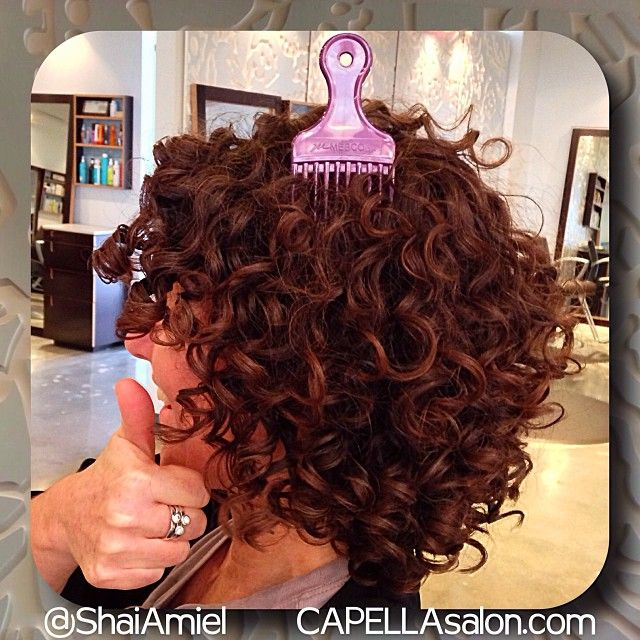 use a pick to add volume to your curls haircut, color, gloss and styling by Shai Amiel www.CAPELLAsalon.com #DevaCurl #DevaCut