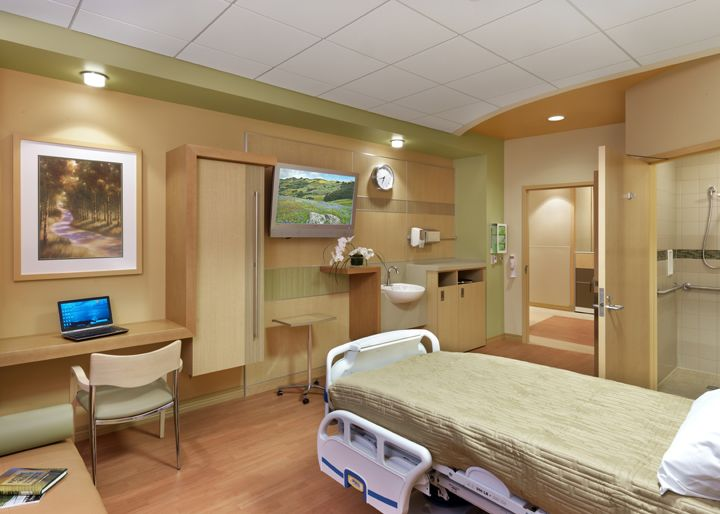 Patient Room at the Indu & Raj Soin Medical Center, Beavercreek, OH. Designed by Jain Malkin Inc. and HOK