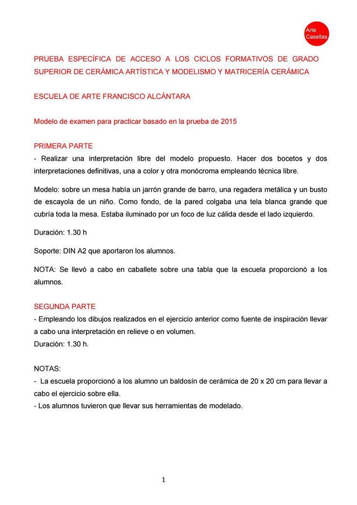 Prueba específica de acceso Escuela de Arte Francisco Alcántara 2015. Clases