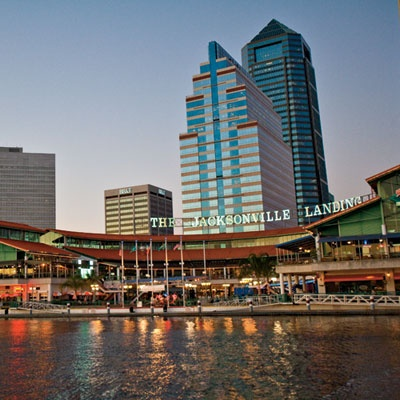 The Jacksonville Landing, Jacksonville, FL I saw then presidential candidate George W. Bush give a campaign speech here.  I had a window seat in a 2nd fl. restaurant - great view!