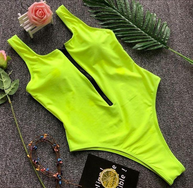 Maillot de bain solide zippé body sexy noir / vert maillot de bain femme maio feminino praia biquini maillot de bain une pièce
