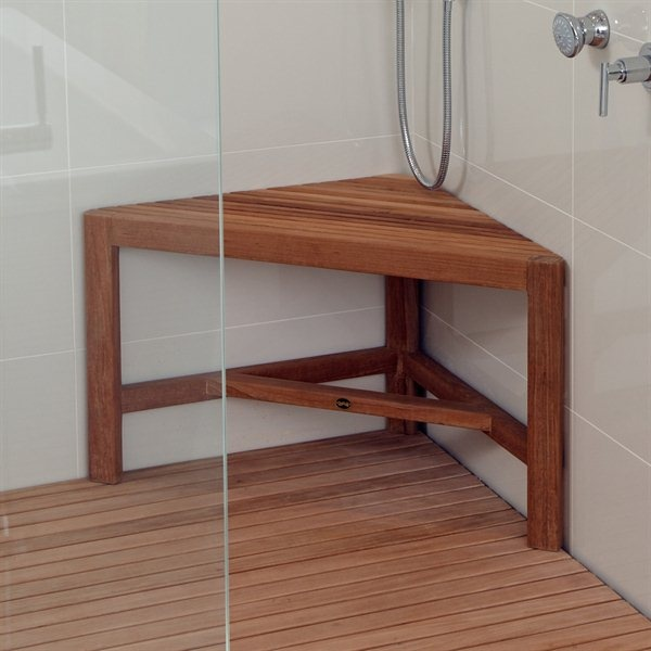 Teak Corner Shower Bench