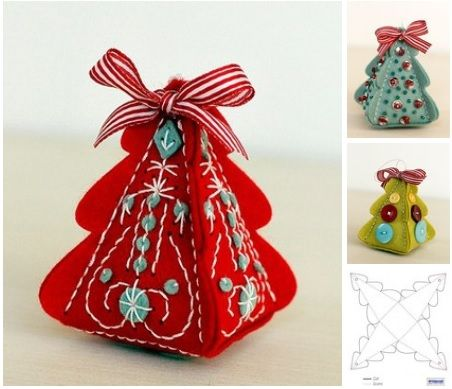 Arbolitos navideños en fieltro 3D con moldes