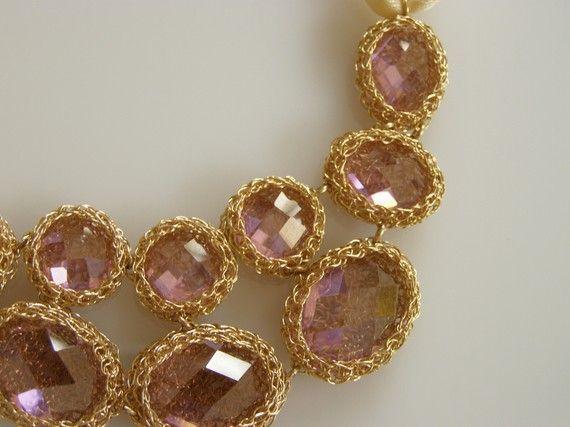 Pink Zircon Necklace, Crochet Necklace Goldfilled, Impressive Pink Zircons Necklace, Small Model