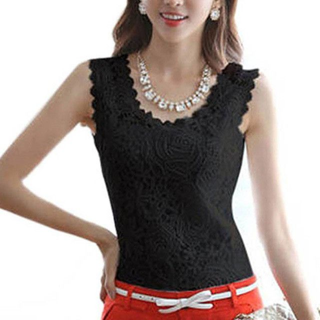 Free Shipping - New White And Black Lace Blouse O-neck Sleeveless Elegant Shirt Summer Top