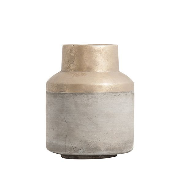 gold dipped concrete vase