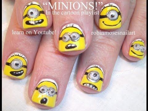 Despicable Me Nails - Minion Nail Art by robin moses