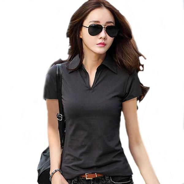 Summer Polo Shirt Women 2016 New Short Sleeve Solid Slim Polos Mujer Shirts Tops Fashion Plus Size Polo Femme 5 Color A192