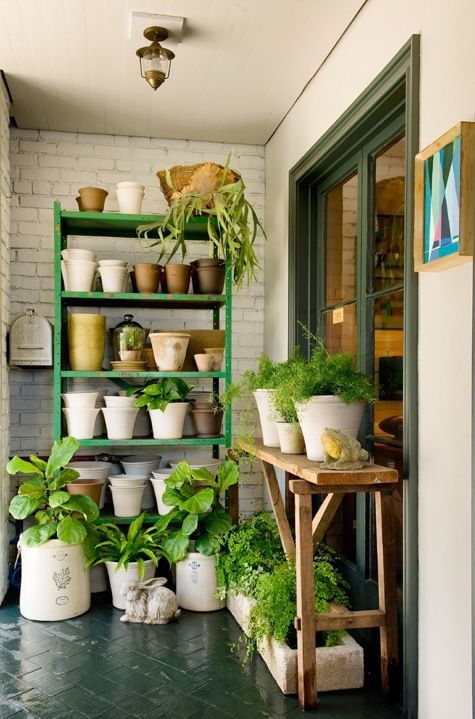 I love indoor/outdoor spaces and lots of greenPlants Can, Balconies, Little Gardens, Back Porches, House, Outdoor Gardens, Stores Interiors, Plants Room, Green Room