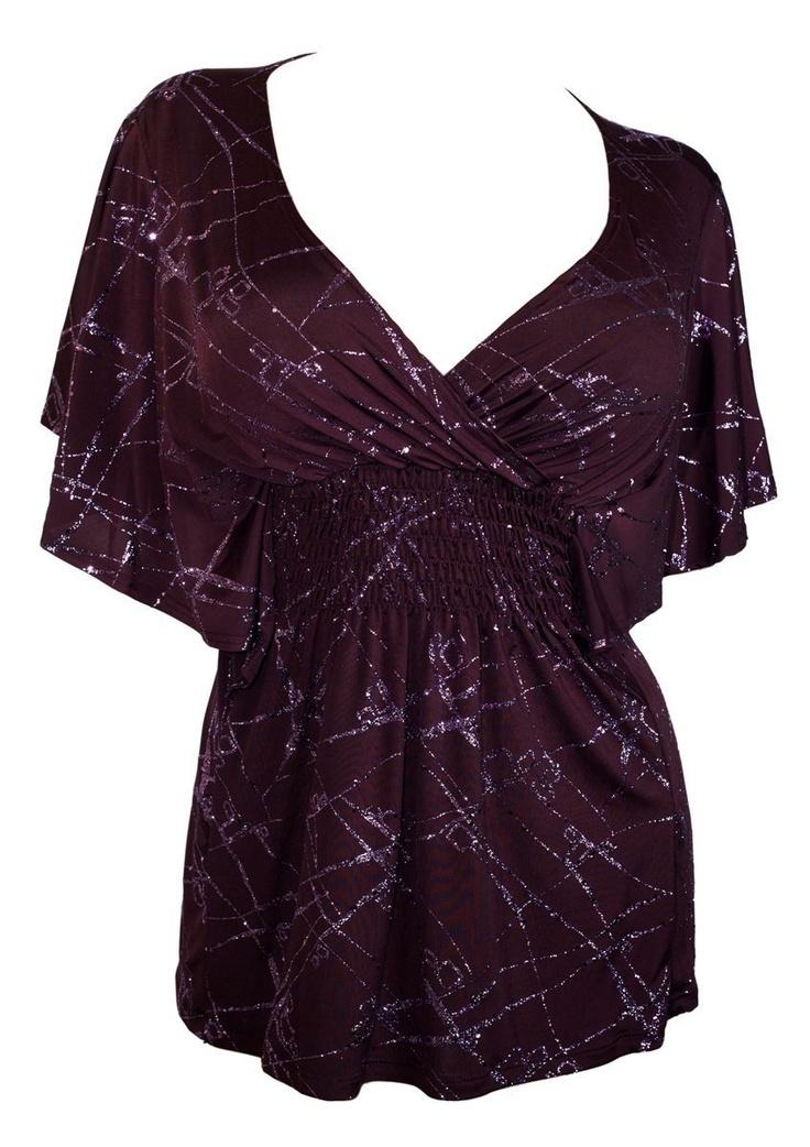 Amazon.com: Plus Size Slimming V-neck Smocked Empire Waist Top Purple: Clothing