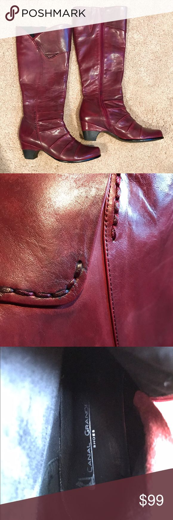 "Red Leather Boots Deep red leather knee high boots. Barely worn and in great shape. 2"" heel. Super soft glove leather (I bet they were made in Italy, but can't say for sure). Canal Grande is the brand and Cresta is the name. Euro size 37, US size 7. Shoes Heeled Boots"