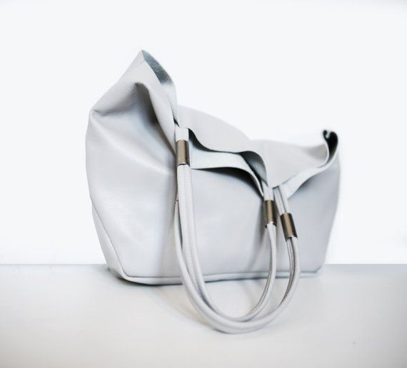 Gray Leather Tote Shopper, Handmade, Minimalist, Simple, Unique, Modern Classic, Gift For Her  Simple. Beautiful. Unique. Made by hand with attention