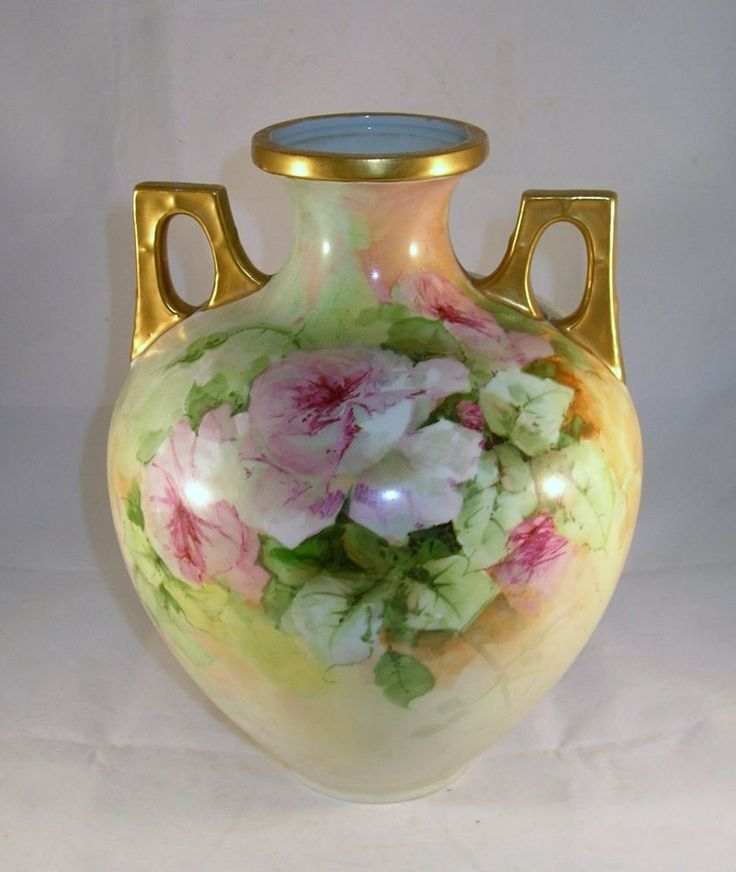 "Bavaria hand painted floral urn rose bouquet gold gilt large 10 1/2"" tall #unmarked"