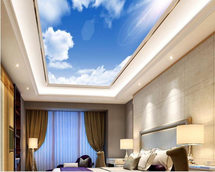 3d росписи обоев Голубое небо потолок облако Пользовательский 3d фото обои потолок, Стены, Декор нетканые Фреска(China (Mainland))