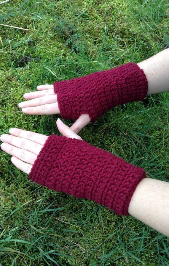 Raspberry wrist warmers wrist gloves fingerless mittens