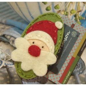 May Crimson Handmade Felt Santa Hair Clip - could also be a deco, or maybe a bookmark...Holly Bazaar?