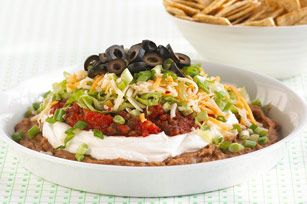 kraft: ultimate 7 layer dip...Layered Dips Recipe, Parties Dips, Ultimate 7Layer, Yummy Food, Ultimate 7 Layered, Artichokes Dips, 7Layer Dips, Dip Recipes, 7 Layered Dips