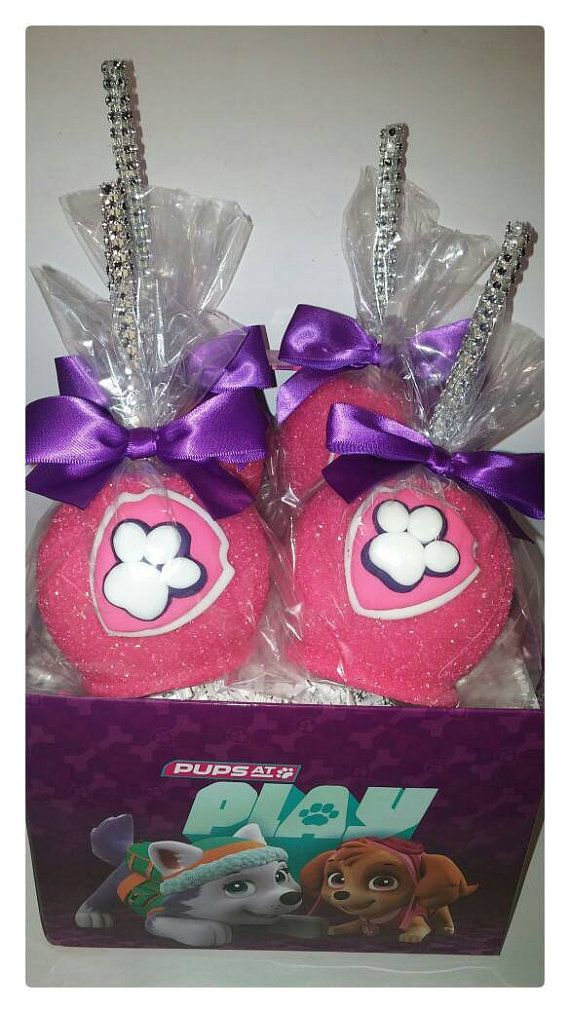 Check out this item in my Etsy shop https://www.etsy.com/listing/484688973/pink-paw-patrol-candy-apples-12-per
