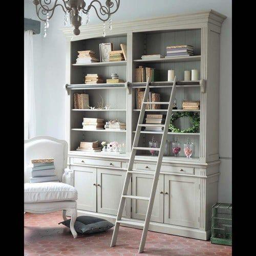 Bücherregal aus Holz mit Leiter, B 200cm, grau Amandine