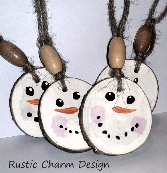 Snowman Christmas Ornament - Rustic Primitive Tree Decor