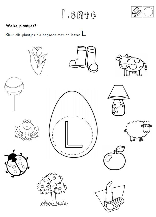 Kleur alle plaatjes die beginnen met de letter L. [Juf Shanna]