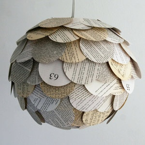 Paper lanterns made from old books