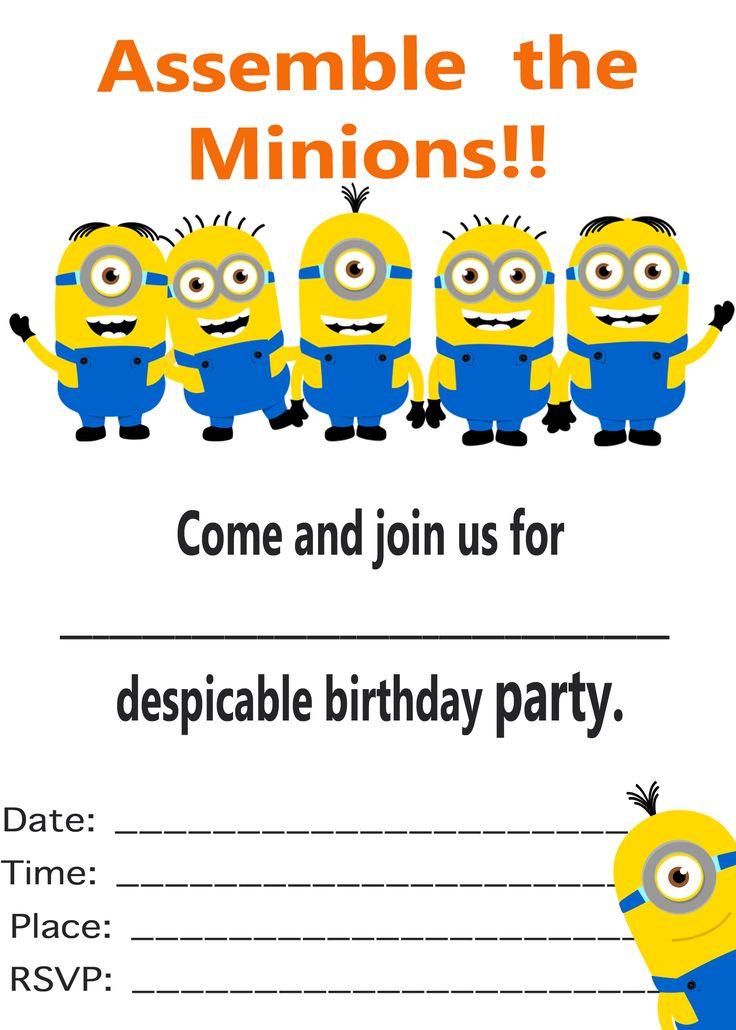 Minion Invitation Printable Templates