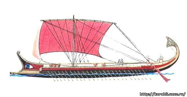 Египетские фараоны имели военные корабли, которые оснащались парусами и большим количеством весел. Носовая часть корабля была приспособлена для абордажа и протаранивания вражеского корабля.