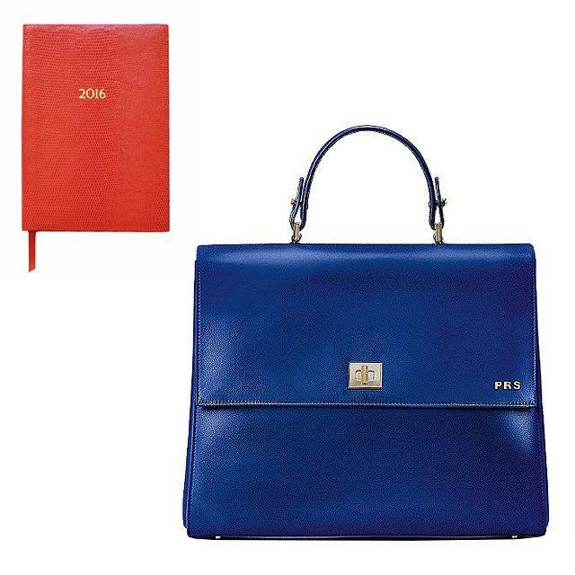 Sloane Stationery 2016 orange pocket diary, $44, sloanestationary.com; Boss Bespoke leather handbag with detachable strap, $1,495, hugoboss.com